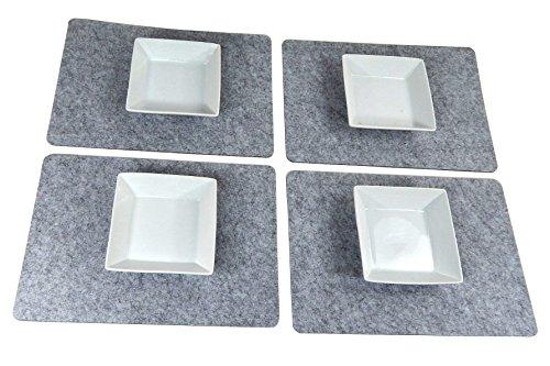 Tinas Collection Filz Platzset für 4 Personen, 4tlg.Tischset Platzmatten, Moderne Filz Tischmatten Tischunterlagen Accessoires Tisch -