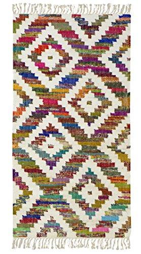 Jute Co. Kilim Teppich, Läufer aus Baumwolle Hochwertiger Stoff Handarbeit, mehrfarbig