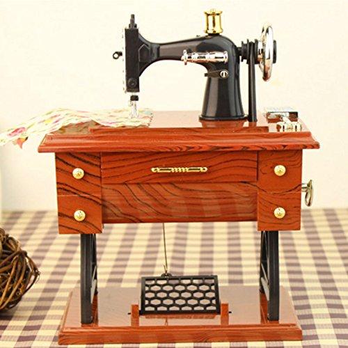 Mini Retro máquina de coser Vintage Treadle caja Musical Style Clockwork decoración de casa Cadea