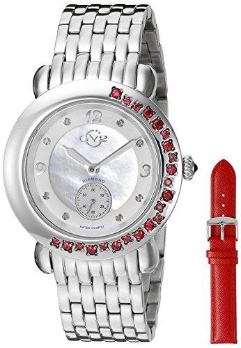 GV2by Gevril de la mujer 9890Marsala gemas de cuarzo analógica Swiss Plateado Reloj