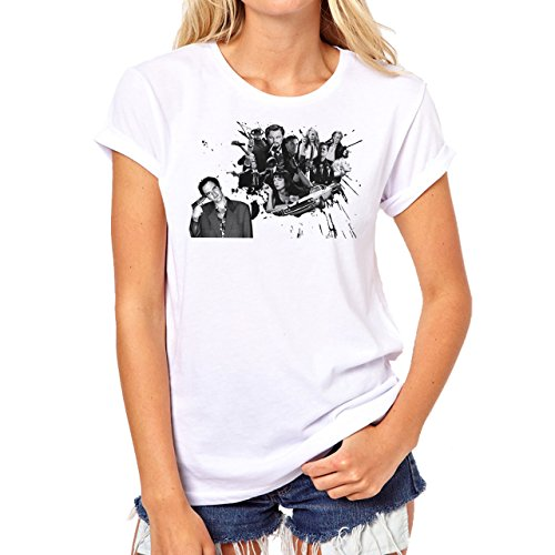 Pulp Fiction Ouentin Tarantino Movie Head Shot Background Damen T-Shirt Weiß