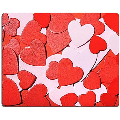 Luxlady Gaming Mousepad foto ID: 32574866 tanti piccoli cuori in legno, colore: rosso/bianco su fondo rosso
