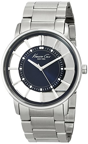 Kenneth Cole Men's Quartz Watch with Blue Dial Analogue Display and Silver Stainless Steel Bracelet KC3993