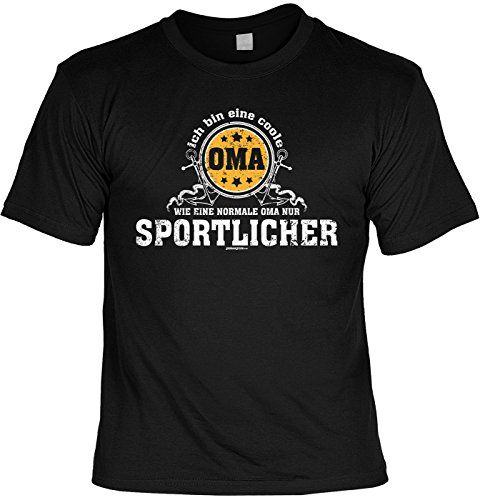 Fun T-Shirt mit lustigem Motiv - Coole Oma, wie eine normale Oma, nur sportlicher - Geschenk zum Geburtstag - schwarz Schwarz