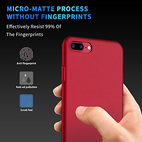 iPhone 7 Plus Hülle Matte Slim Case Alle Ultra Dünn,High-Quality Shock iPhone 7Plus Hülle,All-Fingerprint,Anti-Screatch Telefon Cover Für Apple 7 Plus (5,5 Zoll-Gold) Meidu Rot Hülle