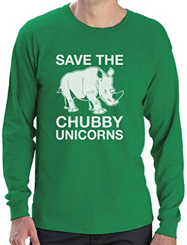 Lustiges Geschenk Save the Chubby Unicorn Langarm T-Shirt Grün
