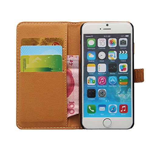 iPhone 6S Plus Hülle Glitzer,iPhone 6S Plus Hülle Leder,iPhone 6 Plus Hülle,Leder Handy Tasche Wallet Case Flip Cover Etui für iPhone 6 6S Plus,EMAXELERS Cute Blumen Campanula Muster Design Schutzhüll T Skull Series 4