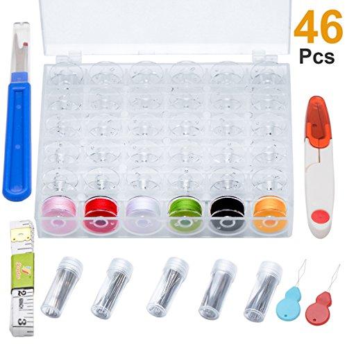 Witasm 36 x Nähmaschinenspulen mit Nadeln Spulenbox 36 Spulen (Φ20 x 11,5 mm) Set SpulenBox, 50 x Nähmaschinennadeln 70-110, Fadenschere, Bandmaß, Nahttrenner, 2 x Nadeleinfädler