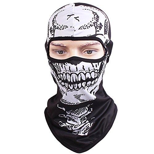 Tclian maschera con teschio, passamontagna, bandana con scheletro/fantasma da motociclismo, passamontagna intero, maschera di protezione contro i raggi uv , traspirante, militare, halloween, skull-02