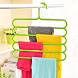 #4: Ontime 5 Layer Pants Clothes Hanger Wardrobe Storage Rack Set of 2, Assorted Colour