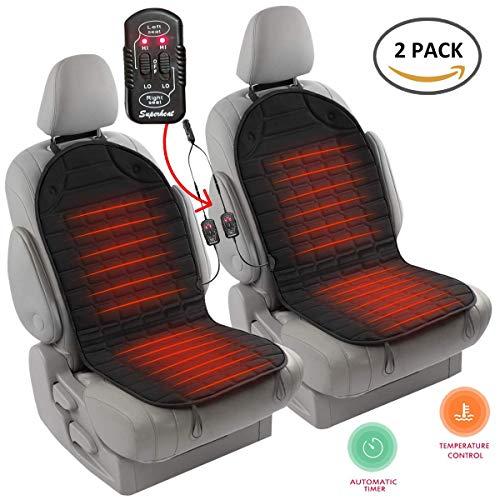 ACCE 2X Beheizbare Sitzauflage Auto Sitzheizung Heizkissen Universal Doppelsteckdose Einstellbare Temperatur 12V - mit Thermostat, Schwarz