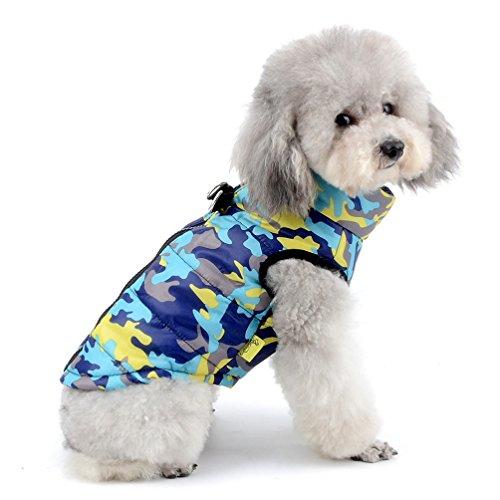 selmai Camo Kleiner Hund Katze Winter Fell Weste Jacke wattiert Pet Puppy Camouflage Kostüm mit Hundegeschirr Hund Chihuahua kaltem Wetter Kleidung Bekleidung (Camouflage-weste Hund)