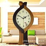 BBSLT Creative semplice stile moderno in legno massiccio unico pendolo orologio da parete grande antico orologio silenzioso europeo orologio disco,colore caffè