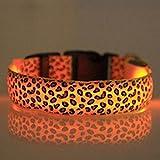 Evtech (tm) Leopard-Druck Nacht Safety Lead-Kragen-Hundekatze-Haustier-Halsband verstellbar mit grellem Licht-up Gelb - L
