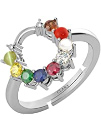 Clara 92.5 Sterling Silver Natural Certified Navratna Stone 9 gems Adjustable Ring for Women and Girls