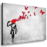 Fotoleinwand24 Bild auf Leinwand Banksy Graffiti Art / XXL Wandbilder und Kunstdrucke auf Leinwand Bilder fertig gerahmt auf Holzrahmen / FARBE UND GRÖSSE WÄHLBAR !! kein Poster oder Plakat / Günstiger als Ölbild Gemälde / Leinwandbilder, Keilrahmenbilder N-342 (Bild S/W 100x70cm)