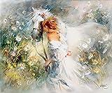 Keilrahmen-Bild - Willem Haenraets: White Dream 50 x 60 cm Pferd mit Mädchen Blumen nostalgisch idyllisch romantisch