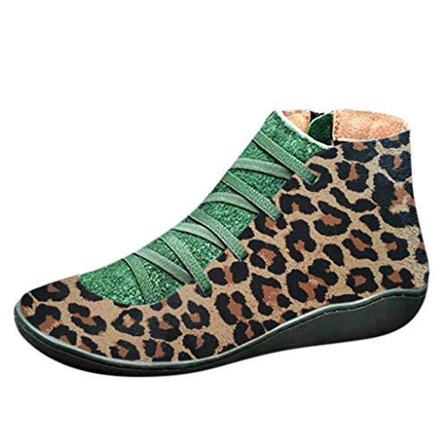BIBOKAOKE Mode Damen Stiefel Leopardenmuster Seitlicher Reißverschluss zum Schnüren Flache Schuhe Schnürschuhe Winterstiefel Rom Booties Hausschuhe