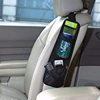 EarthSafe® Los asientos del coche Organizador lateral bolsa de almacenamiento con múltiples bolsillos (Negro)