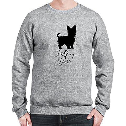 Sweatshirt da uomo con I Love My Yorkie Dog Breed Illustration stampa.