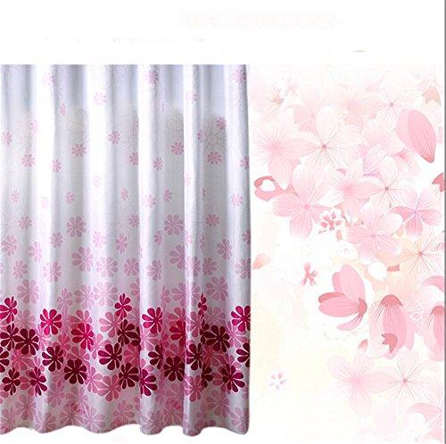 MIWANG Einfache wasserdichtes Polyester Schimmel - kreative Umweltschutz Vorhang, Peach Blossom Blüte Dusche Plus führen Duschvorhang Ring, 240 Linie + Hitachi * 200 cm hoch - Peach Blossom Dusche