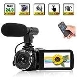 Caméscope Camescope Full HD 1080P 24MP camescope numerique avec WiFi Camera Video à Vision Nocturne Prise en Charge d'un Microphone Externe et d'une télécommande