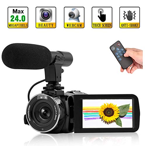 Videokamera Camcorder Full HD 1080P 24MP Vlog Kamera mit WiFi Nachtsicht Camcorder Unterstützung für externes Mikrofon und Fernbedienung - Camcorder Kamera