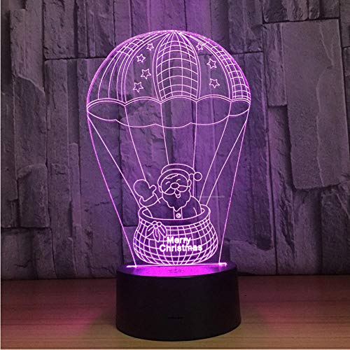 Pbbzl Santa Claus Hot Air Balloon 3D Lamp 7 Color Change Led Night Light Lamp Fixtures Touch Switch For Children Gift -