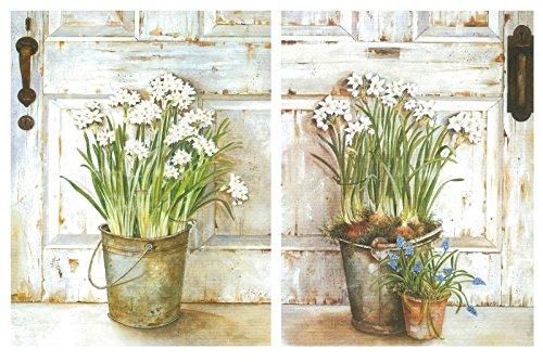 Producto económico para amantes del arte compuesto por un set de dos pequeños cuadros decorativos florales de tonalidades claras. Hablamos de láminas de impresión digital sobre paneles de fibra de madera ecológica. Cada cuadro mide 19x25 cm y tiene 4...