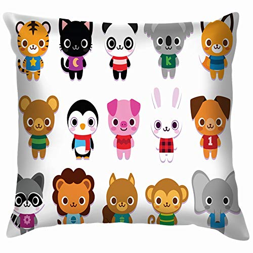 beautiful& Set Cute Cartoon Animals Isolated Wildlife Animal Cotton Throw Pillow Case Cushion Cover Home Office Decorative, Square 18X18 Inch (Cartoons Chipmunks Halloween)