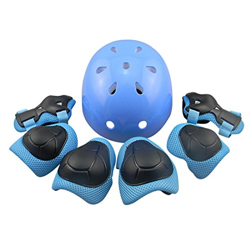LDB SHOP 7 Pack Outdoor Sports Protective Gear Set Cycling Helmet Safety Pads Set Knee Elbow Pads Wrist Guards For Roller Scooter Skateboard Bicycle 8-15 Years old