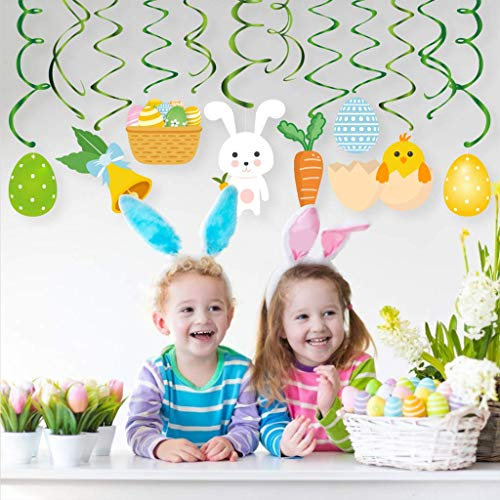 Bdecoll Décorations De Jour De Pâques, 30 Pcs De Pâques Suspendus Remous Partie Swirl Bunny Egg Découpes Suspendus Décor Swirl pour La Fête De Pâques