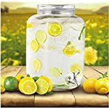 Party Mason Jar Beverage Dispenser Glass Air Tight, Liquor Dispenser Beer Dispenser, Cold Water Pitcher/Juice Dispenser Holder,4 Liter Large Dispenser