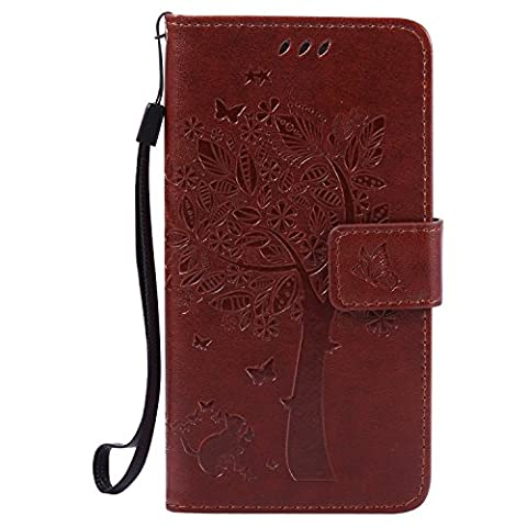 Samsung Galaxy A5(2015) Case Leather, Ecoway Cat and tree Patterned Embossing PU Leather Stand Function Protective Cases Covers with Card Slot Holder Wallet Book Design Detachable Hand Strap for Samsung Galaxy A5(2015) - Coffee Brown