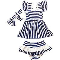 Moollyfox Bikini Niñas Traje de Baño de Dos Piezas Bañador con Cinta de Cabeza Marina de Guerra Tankini Conjunto Infantil para 2 - 6 Años Marina Rayas M