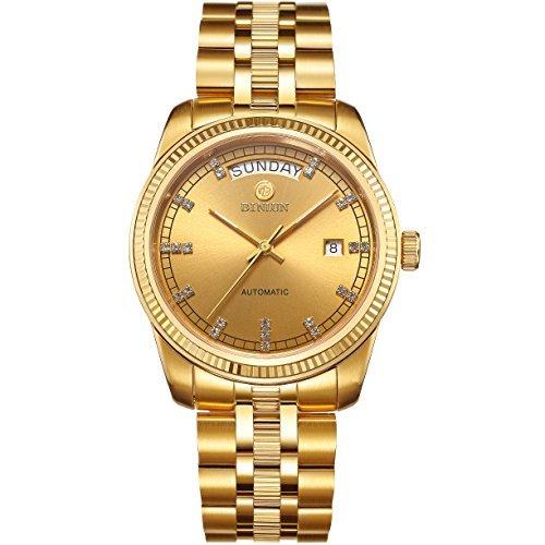 binlun Gents Presidential 8K Shining Gold plattiert mit Datum und Tag, helle und Diamanten Indizes