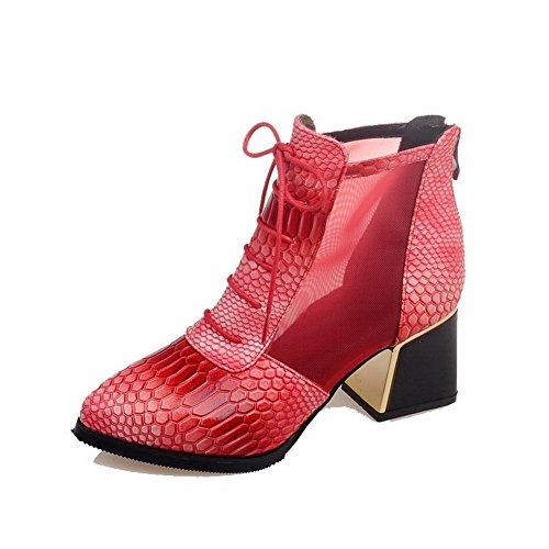 AllhqFashion Damen Rein Mittler Absatz Spitz Zehe Nubukleder Reißverschluss Stiefel, Pink, 38