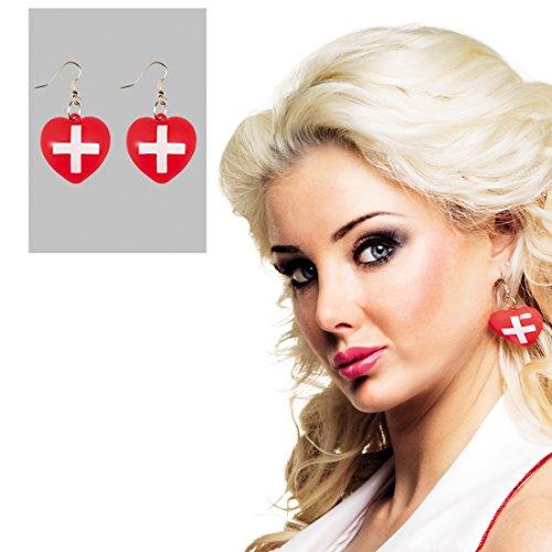 Kostüm Krankenschwester Kreuz Rot - Amakando Schwestern Ohrhänger Herz Ohrringe Ohrstecker Rotes Kreuz Ohrschmuck Krankenschwester Kostüm Accessoire Herz Ohrringe