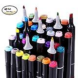 Anicoll 40 Marker Pens verdoppelt spitzt Marker Stifte für Kunst Sketch Twin Färbig Highlighters mit Tragetasche für Malerei Coloring Hervorhebungen und Unterstreichungen Schwarz