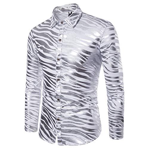 Wanyangg camicia da uomo casual slim fit lucida bicolore stampa a caldo striscia zebra manica lunga risvolto camicie per partito nightclub argento s