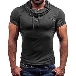 Tefamore Blusa Camiseta de manga corta de los hombres sólida Camisa de verano casual (Tamaño:L, Gris oscuro)