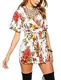 Meaneor Damen Sommer Jumpsuit Blumen Playsuit Kurzer Overall mit floralem Druck Strandoverall V-Ausschnitt