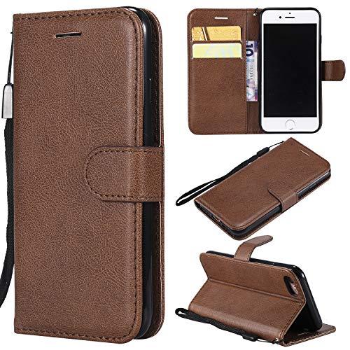 Artfeel Flip Brieftasche Hülle für iPhone 7, iPhone 8 Premium PU Leder Handyhülle mit Kartenhalter,Retro Bookstyle Stand Abdeckung mit Magnetverschluss Handschlaufe Hülle-Braun -