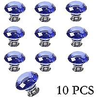 Yazer 10 X 30 mm, taglio a diamante, in vetro cristallo Doorknobs Kitchen-Cassettiera viti per mobili da interni decorazione per la casa e decorazioni fai-da-te blu - Maniglia Blue Door