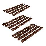 Relaxdays 12x Vogelabwehr, je 49 cm, mit Spikes, Gesamtlänge 6m, witterungsresistent, Tierabwehr für Zäune und Mauern, Dunkelbraun