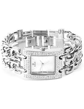 YESURPRISE 044468–Armbanduhr Damen, Armband aus Edelstahl Farbe Silber