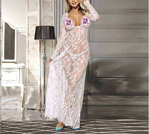 erotischeDessousDamen Sexy Frauen Sexy Dessous Robe Transparent Nachtwäsche Langes Spitzenkleid Kimono Cardigan Weiß_XXL (Lehrerin Kostüm Übergröße)