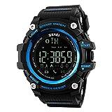 Reloj inteligente Zamac con registro de actividad deportiva, pulsera Bluetooth, pedómetro, contador de calorías para smartphones con Android y iOS, no necesita ser recargado, color azul