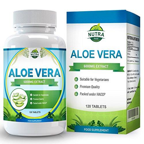 Pflege 90 Tabs (Aloe Vera, Hoch Potentes Nahrungsergänzungsmittel zum Abnehmen, Schonende Reinigung und Entschlackung Ihres Verdauungstraktes, Heilt und Befeuchtet die Haut, 6000mg, 120 Tabletten)