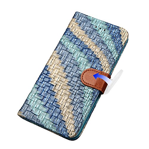 "Hülle für iPhone 7, xhorizon FLK Weinlese Retro Bunter Regenbogen Leder Brieftasche Fall Wallet Case Mit Perfektion Prime Design für iPhone 7 [4.7""] blau"